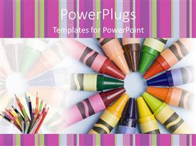 Crayon powerpoint templates crystalgraphics powerplugs powerpoint template with lots of multi colored crayons on a white colored background toneelgroepblik Images