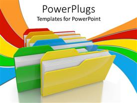 PowerPlugs: PowerPoint template with lots of multi colored folders on a white background