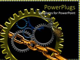 PowerPlugs: PowerPoint template with lots of multi colored gears with a silver and gold chain