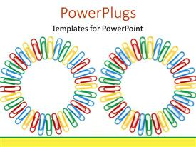 PowerPlugs: PowerPoint template with lots of multi colored paper clips forming two circles