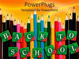 PowerPlugs: PowerPoint template with lots of multi colored pencils with text which spells out the word'back to school'