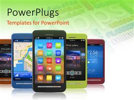 PowerPlugs: PowerPoint template with lots of multi colored phones displaying lots of mobile apps