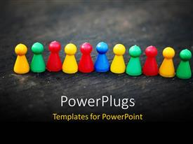 PowerPoint template displaying lots of multi colored pin heads arranges on a line