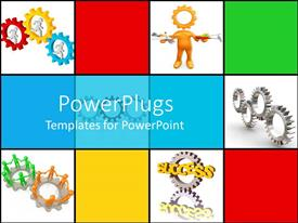 PowerPlugs: PowerPoint template with lots of multi colored tiles with different colors of gears