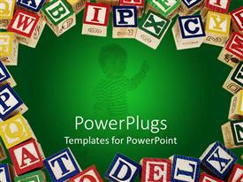 PowerPlugs: PowerPoint template with lots of multi colored wooden learning blocks with alphabets