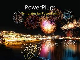 PowerPlugs: PowerPoint template with lots of multicolored fire works lightning up the night sky