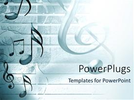 PowerPlugs: PowerPoint template with lots of musical note symbols on a white background