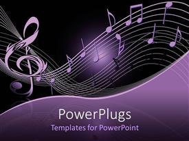PowerPlugs: PowerPoint template with lots of musical notes on a purple and black background