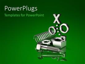 PowerPoint template displaying lots of nuts, bolts, and springs on a green background