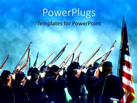 PowerPlugs: PowerPoint template with lots of officials holding up their guns to the sky with a flag beside them