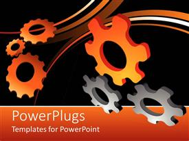 PowerPlugs: PowerPoint template with lots of orange and ash colored gears on a back background