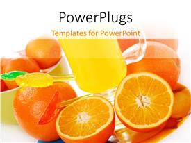 PowerPoint template displaying lots of oranges and a glass of fruit juice