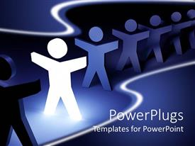 PowerPlugs: PowerPoint template with lots of paper cut 3D human characters on a straight line