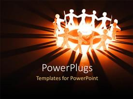 PowerPlugs: PowerPoint template with lots of paper cut human characters standing round  burning flame