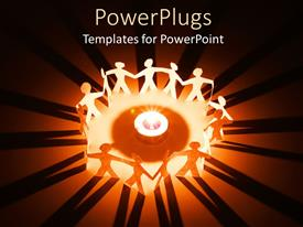 PowerPlugs: PowerPoint template with lots of paper cuts characters holding hands round a light