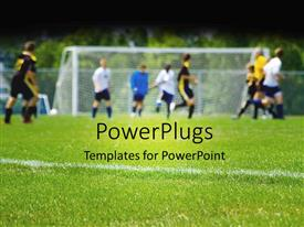 PowerPlugs: PowerPoint template with lots of payers having a game of soccer on an open field