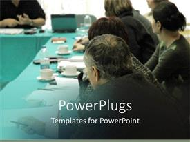 PowerPlugs: PowerPoint template with lots of people in a conference room having a business meeting