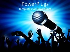 PowerPlugs: PowerPoint template with lots of people dancing with a large microphone and glowing light