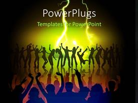 PowerPlugs: PowerPoint template with lots of people dancing in a music party concert