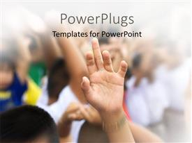 PowerPlugs: PowerPoint template with lots of people with their hands raised up on a blurry background