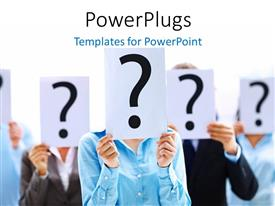 PowerPlugs: PowerPoint template with lots of people holding up a question mark card