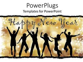 PowerPlugs: PowerPoint template with lots of people jumping for joy with a Happy New Year text