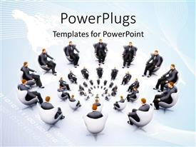 PowerPlugs: PowerPoint template with lots of people sitting on white chairs in circles