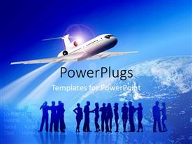 PowerPoint template displaying lots of people standing with an airplane flying over