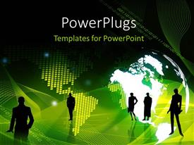 PowerPoint template displaying lots of people standing on a green world map background