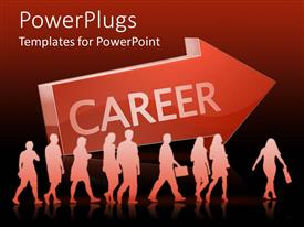 PowerPlugs: PowerPoint template with lots of people walking beside a big red arrow with a Career text
