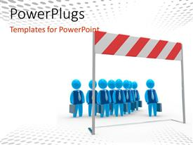 PowerPlugs: PowerPoint template with lots of people walking with a large hurdle in front of them