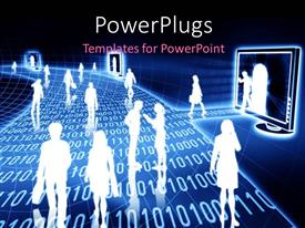 PowerPlugs: PowerPoint template with lots of people walking on n array of binary numbers