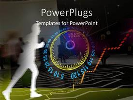 PowerPlugs: PowerPoint template with lots of people walking with a shadow running beside a speed gauge