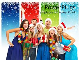 PowerPoint template displaying lots of people wearing a Christmas cap and holding gifts