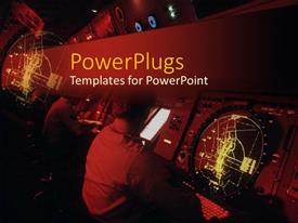 PowerPlugs: PowerPoint template with lots of people working on a ship or submarine navigation system