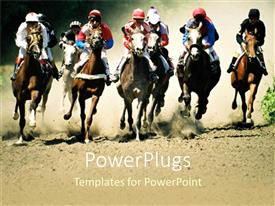 PowerPoint template displaying lots pf horses and their riders having race competition