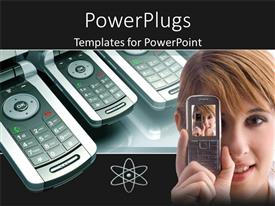 PowerPlugs: PowerPoint template with lots of phones at the background with a lady holding a phone