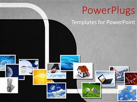 PowerPoint template displaying lots of picture tiles on an ash colored background
