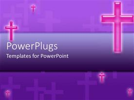 PowerPlugs: PowerPoint template with lots of pink crosses floating on a blue background