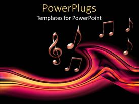 PowerPlugs: PowerPoint template with lots of pink musical notes on a black background