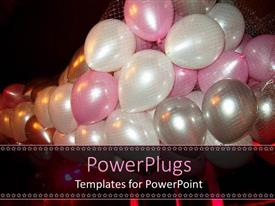 PowerPlugs: PowerPoint template with lots of pink, white, and silver colored party balloons