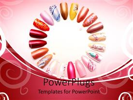 PowerPlugs: PowerPoint template with lots of plastic nails with colorful designs arranged in a circle