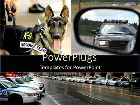 PowerPoint template displaying lots of police vehicles in lines and a security dog