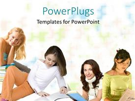 PowerPoint template displaying lots of pretty young ladies in a study group reading