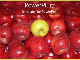 PowerPlugs: PowerPoint template with lots of red apples with a green one in the middle