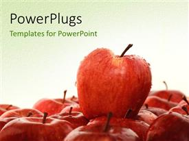 PowerPlugs: PowerPoint template with lots of red apples on a white colored background