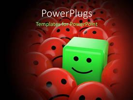 PowerPlugs: PowerPoint template with lots of red balls with a green cube having a smiley face in the middle