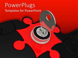 PowerPlugs: PowerPoint template with lots of red and black colored puzzle pieces with a key