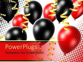 PowerPlugs: PowerPoint template with lots of red and black party balloons with gold colored ribbons