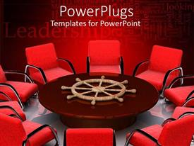 PowerPlugs: PowerPoint template with lots of red chairs around a brown round center table